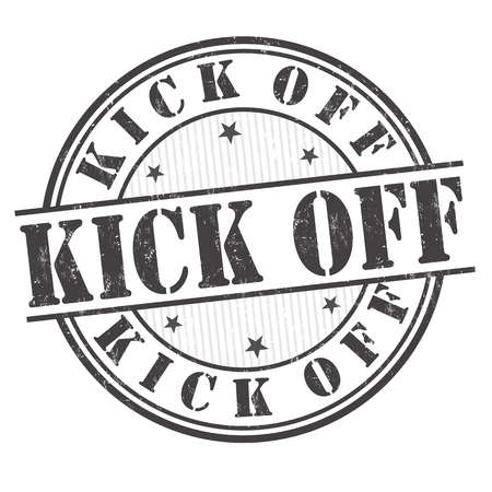 Kick off grunge rubber stamp on white background, vector illustration Illustration