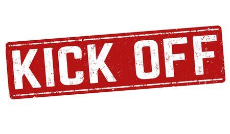 Kick off grunge rubber stamp on white background, vector illustration Stock Illustratie