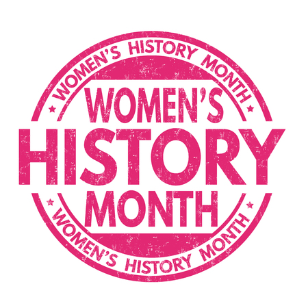 Womens history month grunge rubber stamp on white background, vector illustration Çizim