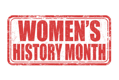 Frauen-Geschichte Monat Grunge-Stempel auf weißem Hintergrund, Vektor-Illustration