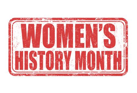 Vrouwen geschiedenismaand grunge rubber stempel op een witte achtergrond, vector illustratie