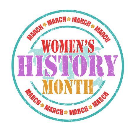 Timbro di gomma storia mese grunge femminile su sfondo bianco, illustrazione vettoriale Archivio Fotografico - 72571616