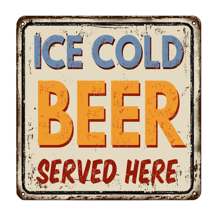 Ice cold beer vintage rusty metal sign on a white background, vector illustration