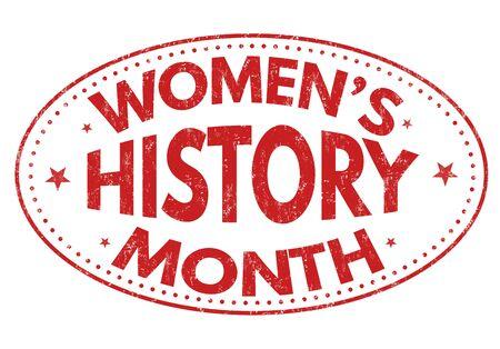 caoutchouc histoire mois grunge cachet de la femme sur fond blanc, illustration vectorielle Vecteurs