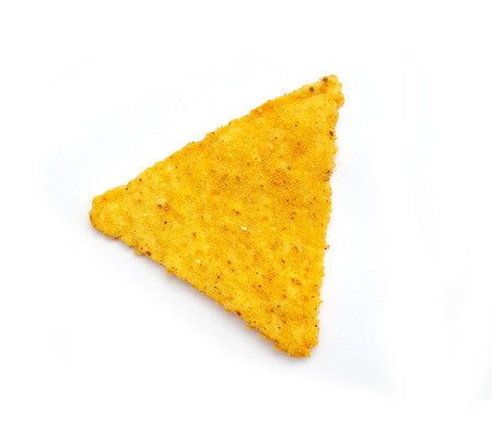 corn meal: Nachos chips on white background