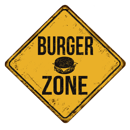Burger zone vintage rusty metal sign on a white background, vector illustration Vetores