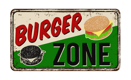 Burger zone vintage rusty metal sign on a white background, vector illustration