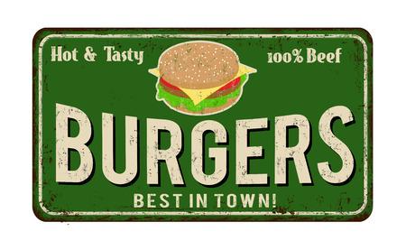 ハンバーガー ヴィンテージ錆びた金属に白い背景、ベクター グラフィックの署名します。