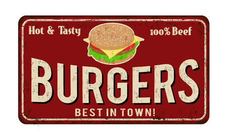 Burgers vintage rusty metal sign on a white background, vector illustration