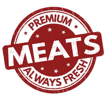 Premium meats grunge rubber stamp on white background, vector illustration Illustration