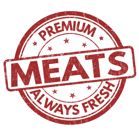 Meats meats grunge rubber stamp on white background, vector illustration
