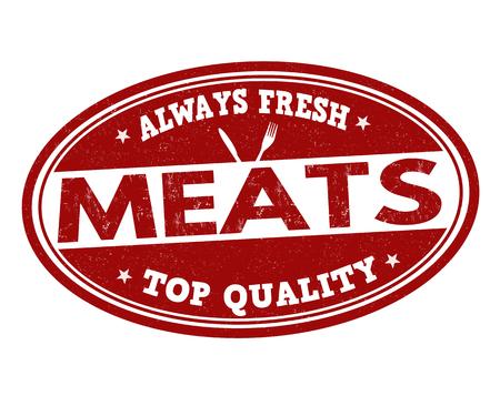 Meats grunge rubber stamp on white background, vector illustration Illustration