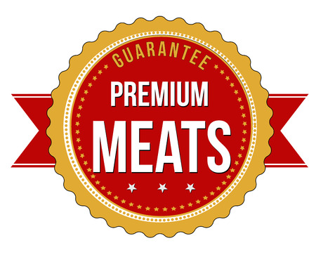 meats: Premium meats grunge rubber stamp on white background, vector illustration Illustration