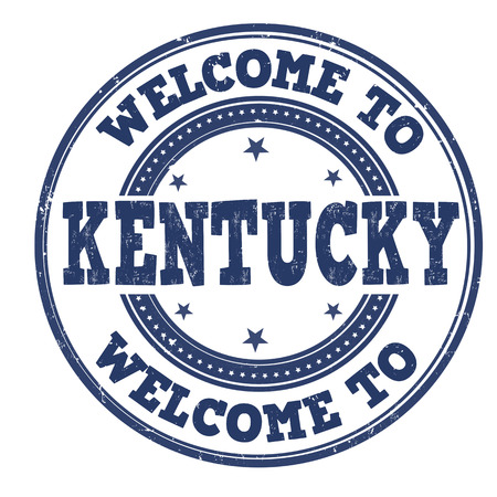 come: Welcome to Kentucky grunge rubber stamp on white background, vector illustration