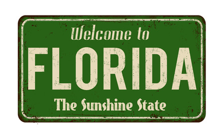 Welcome to Florida vintage rusty metal sign on a white background, vector illustration