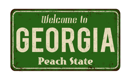 Welkom in Georgië vintage roestige metalen bord op een witte achtergrond, vectorillustratie Stock Illustratie