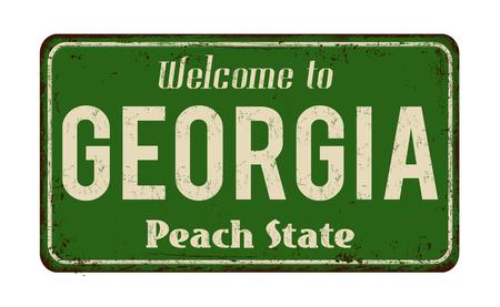 Welkom in Georgië vintage roestige metalen bord op een witte achtergrond, vectorillustratie Stockfoto - 73619593
