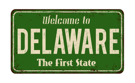 advertise with us: Welcome to Delaware vintage rusty metal sign on a white background, vector illustration Illustration
