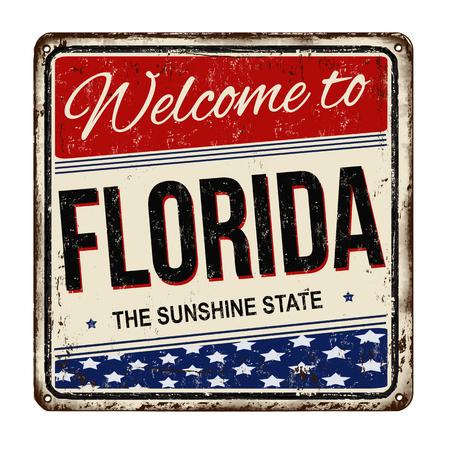voyage vintage: Bienvenue en Floride cru signe métal rouillé sur un fond blanc, illustration vectorielle Illustration