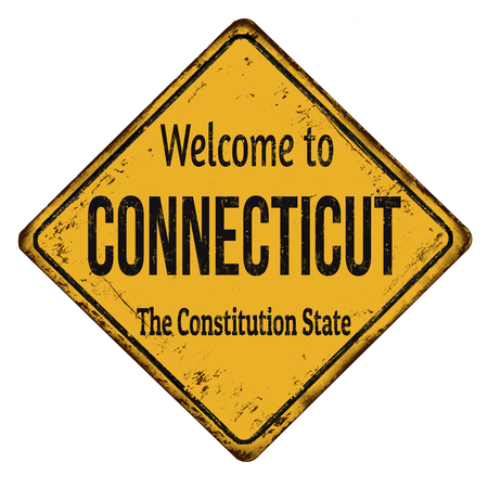 metal sign: Welcome to Connecticut vintage rusty metal sign on a white background, vector illustration