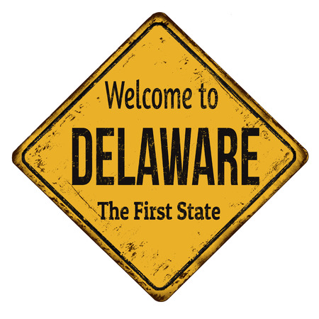 Welcome to Delaware vintage rusty metal sign on a white background, vector illustration Illustration