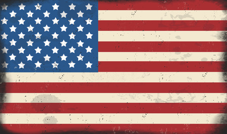 advertise with us: American Flag vintage rusty metal sign, vector illustration