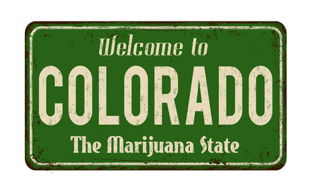 Bienvenue à Colorado vintage panneau de métal rouillé sur fond blanc, illustration vectorielle
