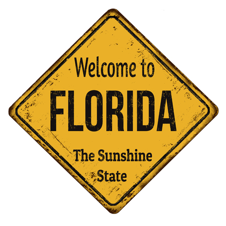 advertise with us: Welcome to Florida vintage rusty metal sign on a white background, vector illustration