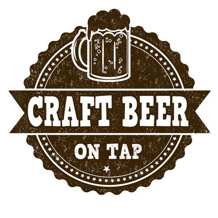 beverage menu: Craft Beer sign or stamp on white background, vector illustration Illustration