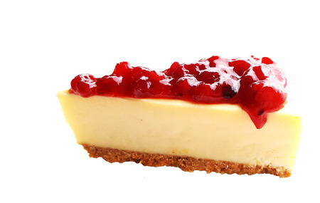 Chesse pie with cranberry sauce on white background