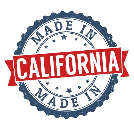 sign in: Made in California sign or stamp on white background, vector illustration Stock Photo