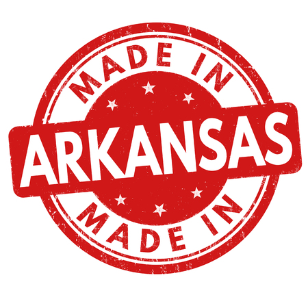 sign in: Made in Arkansas sign or stamp on white background, vector illustration