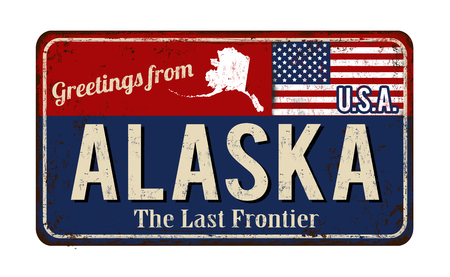 metal sign: Greetings from Alaska vintage rusty metal sign on a white background, vector illustration