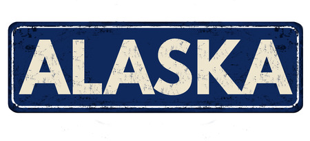 advertise with us: Alaska vintage rusty metal sign on a white background, vector illustration