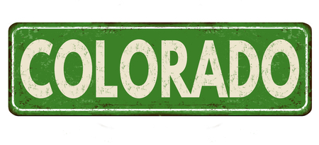 Colorado vintage rusty metal sign on a white background, vector illustration