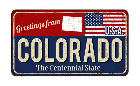 Greetings from Colorado vintage rusty metal sign on a white background, vector illustration