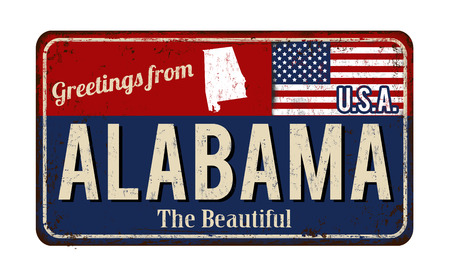 metal sign: Greetings from Alabama vintage rusty metal sign on a white background, vector illustration