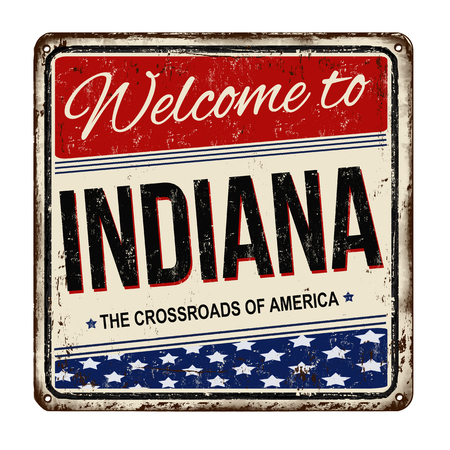 advertise with us: Indiana vintage rusty metal sign on a white background, vector illustration Illustration