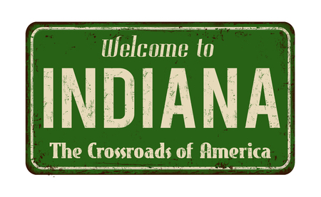 Indiana vintage rusty metal sign on a white background, vector illustration Illustration