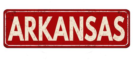 Arkansas vintage rusty metal sign on a white background, vector illustration