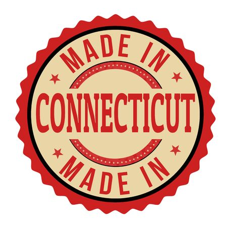 sign in: Made in Connecticut sign or stamp, vector illustration