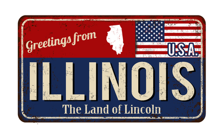 Greetings from Illinois vintage rusty metal sign on a white background, vector illustration