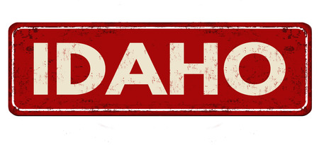 Idaho vintage rusty metal sign on a white background, vector illustration