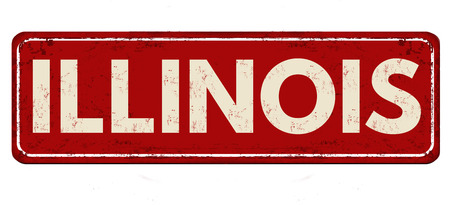 Illinois vintage rusty metal sign on a white background, vector illustration