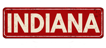 Indiana vintage rusty metal sign on a white background, vector illustration 일러스트
