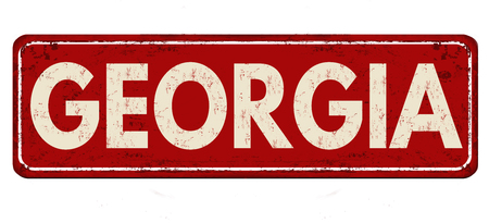 Georgia vintage rusty metal sign on a white background, vector illustration 일러스트