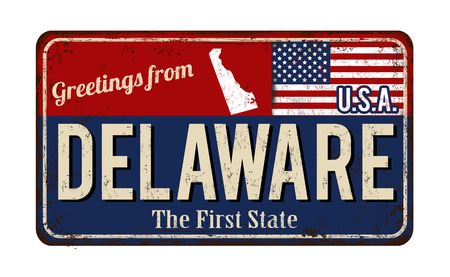 Greetings from Delaware vintage rusty metal sign on a white background, vector illustration