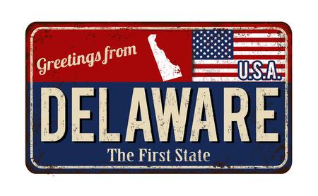 Groeten van Delaware vintage roestig metaalteken op een witte achtergrond, vectorillustratie Stock Illustratie