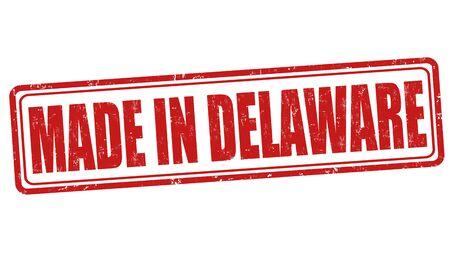 sign in: Made in Delaware sign or stamp, vector illustration
