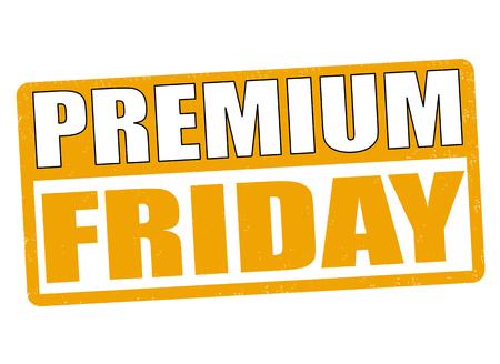 stimulate: Premium friday grunge rubber stamp on white background, vector illustration Illustration